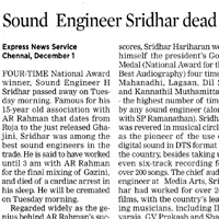 Indian-Express-Sound Engineer Sridhar Dead.